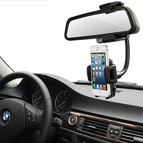 Binmer(TM)Car Rearview Mirror Mount Holder Stand Cradle for Cell Phone GPS iPhone 6s Plus Samsung Galaxy S6 LG