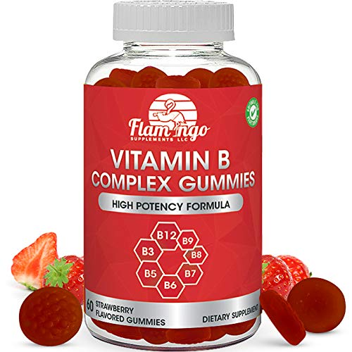 Vitamin B Complex Gummies: Vitamin B12, B7 (Biotin), B6, B3 (Niacin), B5, B6, B8, B9 (Folate). Supports Prenatal- Vegan Diet- Older Adults – Hair Skin Nails – Energy – Strawberry- Two Month Supply
