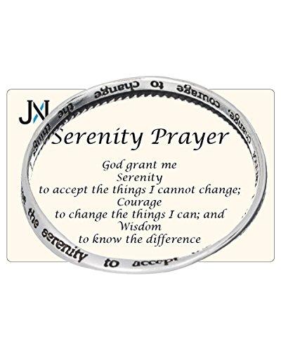 Silver-tone Serenity Prayer Engraved Twist Bangle Bracelet Prayer Card SERENITY COURAGE (Prayer Bracelets)