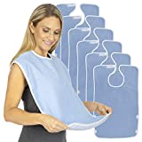 Vive Adult Bibs (6 Pack) - Waterproof Apron Set for Men & Women for Eating with Adjustable Strap - Washable Reusable Large Terry Cloth for Elderly, Seniors & Disabled - Extra Long Clothing Protector