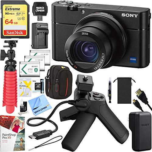 Sony Cyber-Shot RX100 VA DSC-RX100M5A 20.2 MP 4K Compact Digital Camera with F1.8 - F2.8 Zeiss 24-70mm Lens with Grip and Tripod Case Memory Card Spare Battery Bundle (Lens Grip)