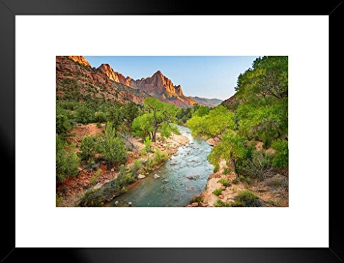 The Watchman at Sunset in Zion National Park Utah Photo Art Print Matted Framed Wall Art 26x20 inch