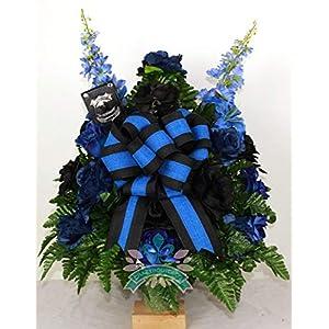 Beautiful XL Back The Blue Police Memorial Cemetery Vase Arrangement 3