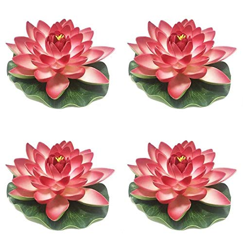 4 Pieces Floating Flower-Herxuhouse Floating Pond Decor Water Flower Foam Artificial Lotus for Home & Party Decoration & Holiday Celebration ()