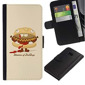 KingStore / Leather Etui en cuir / HTC One M8 / Hot Dog Sandwich basura Food Art Animación
