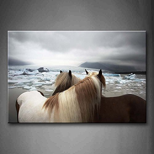 Two Horses Stand On Beach Ice Hill Wall Art Painting The Picture Print On Canvas Animal Wall Art Stretched and Framed Artwork 8x12inch (Pictures Crystal Ice)