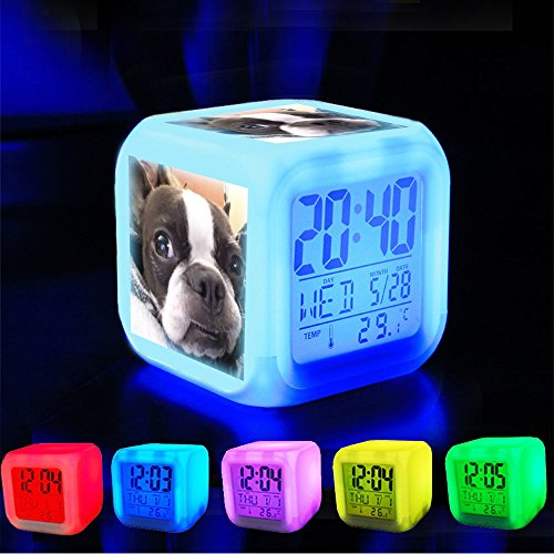 GIRLSIGHT Alarm Clock 7 LED Color Changing Wake Up Bedroom with Data and Temperature Display (Changable Color) Customize The pattern-400.Tfw Your face is All Goofy but You're Too Tired to Care #bos