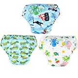 #5: Wegreeco Baby & Toddler Snap One Size Reusable Baby Swim Diaper (Diving,Ocean,Turtle,Large,3 Pack)