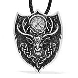 Celtic Legendary Aegishjalmur Pendant Necklace Norse Viking Icelandic Fire Symbol Amulet Stag Animal Power 4022
