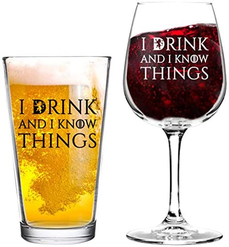 I Drink And I Know Things Beer and Wine Glass Set- Cool Present Idea for Bridal Shower, Wedding, Engagement, Anniversary and Couples - Him, Her, Mr. 2