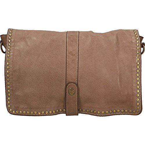 Mujer pequeño bolso de embrague con correa de hombro Chicca Borse Vintage en Piel Genuina Made in Italy 31x22x7 Cm Barro