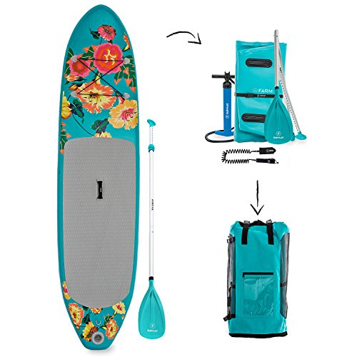 Supflex iSUP 10' FLOWERY Edition Inflatable Stand Up Paddle Board Package - Board, HP, Bag, Paddle & Free Leash