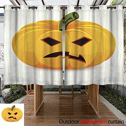 Outdoor Ultraviolet Protective Curtains Halloween Pumpkin Angry Jack O Lantern on a White Background W55 x -
