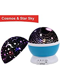 Night Light Kids Lamp Romantic Rotating Sky Moon Cosmos Cover Projector Lighting For