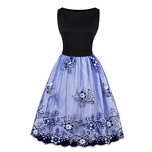El otoño y el verano Vestido Vintage mujer vestido Midi sin mangas de malla Floral giro casual vestido fiesta vestidos de cuello o 300