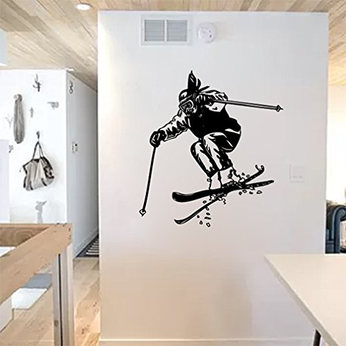 Skier Silhouette (Snow Skiing Skier Silhouette Vinyl Wall Words Decal Sticker Graphic)