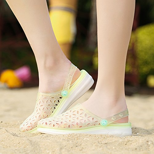 EnllerviiD Women Closed Toe Summer Flat Jelly Sandals Cut-out Rain Garden Beach Slides Shoes 018 Yellow tbQJcI