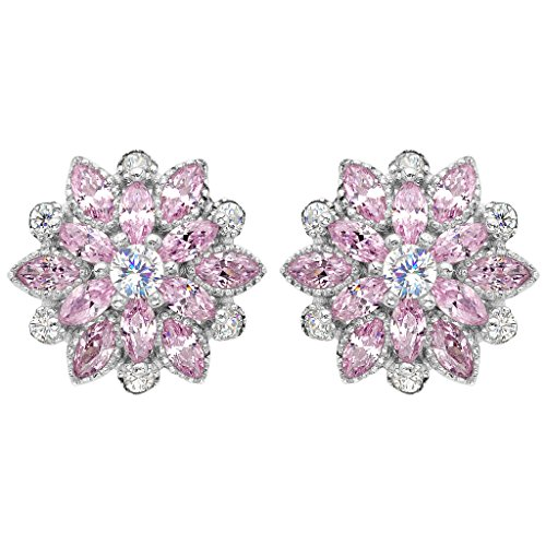 EleQueen 925 Sterling Silver Full Cubic Zirconia Bridal Flower Stud Earrings 15mm ()