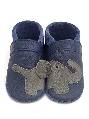 little foot company® 1131 Krabbelschuhe Babyschuhe Lauflernschuhe Elefant weiches Leder marine 18/19 ca. 9-16 Monate