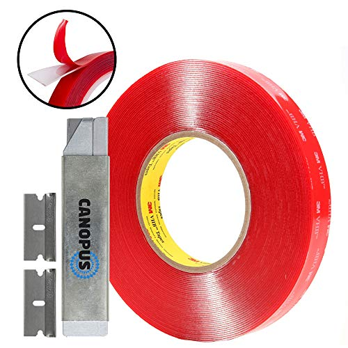 ided - Clear Mounting Tape Converted from 3M 4910 roll, 1 in x 15 ft, 1 Roll with Box Cutter (1PC) and Razor Replacement (2PCs) ()