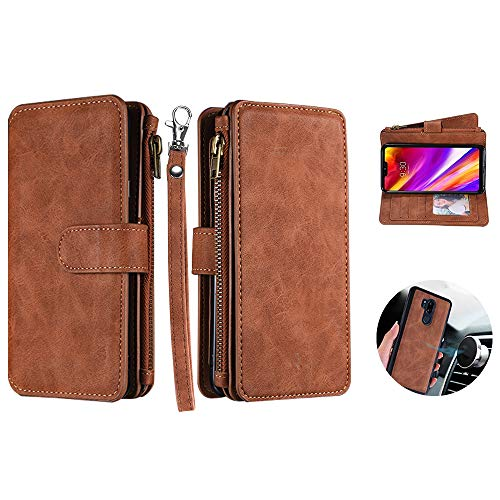 Strap Zipper Detachable (LG G7 ThinQ Case, LG G7 Wallet Case, Car Mount Supporting Base Cover Detachable Magnetic Zipper Case with 12 Cards Slot Cash/Key /Earphone Pocket/Wrist Strap for LG G7 /G7 ThinQ (Wallet- Brown))