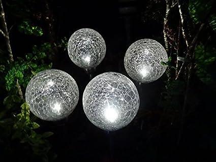 4er Set LED Solar Gartenleuchte mit Erdspieß - praktischer 4er Set ...