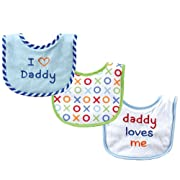Luvable Friends I Love Mommy and Daddy Baby Bibs, Blue Daddy, 3-Count