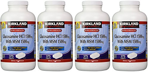 Kirkland hriGA, Extra Strength Glucosamine HCI with MSM 375 Count (Pack of 4) by rirkland SiZnature