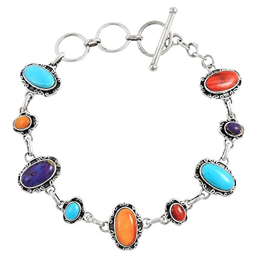 Turquoise Link Bracelet Sterling Silver 925 Genuine Turquoise & Gemstones (Multi)