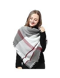Blanket Scarf Women Plaid Scarf Pashmina Gray Red Winter Scarf Wrap Shawl for Women