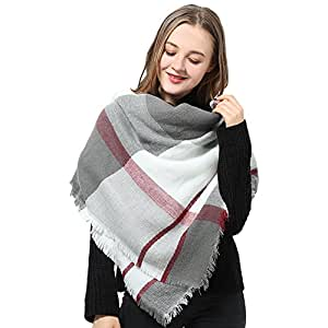 Plaid Blanket Scarf for Women Winter Square Scarf Checked Tartan Scarves Shawl Wrap
