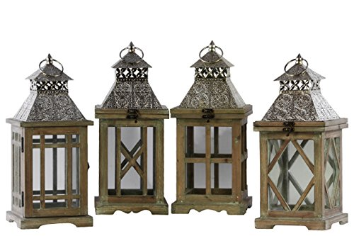 Urban Trends Wood Square Lantern with Silver Pierced Metal Top, Ring Hanger and Glass Windows Assortment of Four Stained Wood Finish Brown, Brown by Urban Trends
