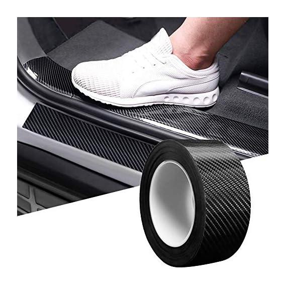 SEMAPHORE HI-Gloss Black Carbon Fiber Style Waterproof Car Seal Strip Door Edge Cover Guard Anti-Scratch Step Decoration
