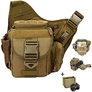 Camera Shoulder Bag, Qcute Waterproof Multi-functional Tactical Military Messenger Shoulder SLR Camera Bag Pack Backpack with Shockproof Insert for Hiking Camping Trekking Cycling - Khaki