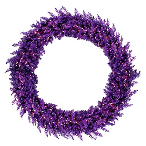 (Vickerman Pre-Lit Ashley Spruce Christmas Wreath with with Clear & Lights, 5', Purple)