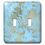 3dRose Uta Naumann Faux Glitter Pattern - Image of Sky Blue and Gold Metal Foil Vintage Grunge Luxury Floral Pattern - Light Switch Covers - double toggle switch (lsp_290170_2)