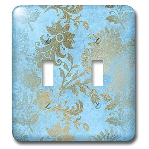 3dRose Uta Naumann Faux Glitter Pattern - Image of Sky Blue and Gold Metal Foil Vintage Grunge Luxury Floral Pattern - Light Switch Covers - double toggle switch (lsp_290170_2) by 3dRose