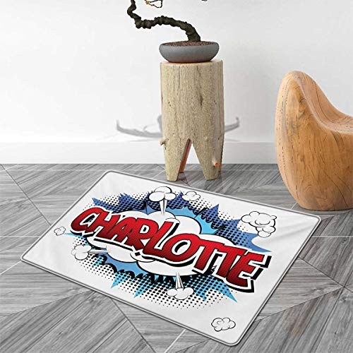 (Charlotte Door Mat Outside Female Name with French Origins in Retro Cartoon Design Explosion Effect and Dots Bathroom Mat for tub Non Slip 4'x5' Multicolor)