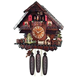 River City Clocks Eight Day Musical Cuckoo Clock Cottage with Man Chopping Wood and Moving Waterwheel