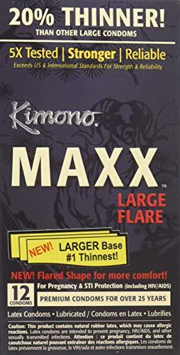 12pk Kimono Condoms - Kimono MAXX Large Flare Latex Condoms, 12 Condoms