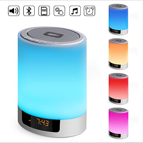 Night Lights Bluetooth Speaker,UPBASICN 5 In 1 Wireless Bluetooth speakers+ Touch Sensor LED Bedside Lamp+ Alarm clock+ MP3 player+Hand Free Call,Touch Control 48 Colors Changing,High definition Sound (Detector Metal Mp3)