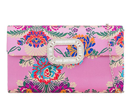 Clutch Pink Bag Haute for Bag Haute Clutch Diva Embroidered for Embroidered Yellow Diva 7wEqA
