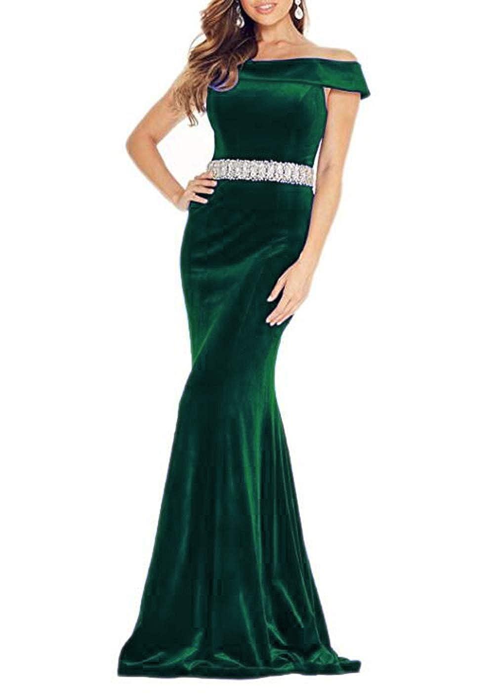 Dark Green alilith.Z Off The Shoulder Mermiad Velvet Prom Dresses Long Formal Evening Dresses for Women with Beaded Belt