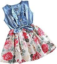 Csbks Little Girls Dress Denim Floral Swing Skirt with Bow Casual Dresses
