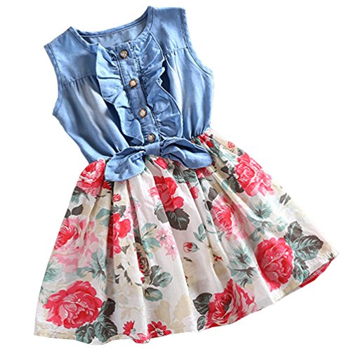 Price comparison product image Csbks Girls Summer Sleeveless Floral Denim Dress Toddler Bow Casual Sundress 7-8 years White