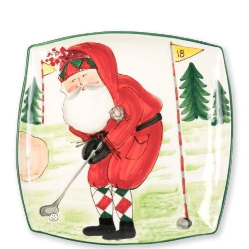 Vietri Old St. Nick Square Platter, Premium Christmas Tableware Handpainted w/Santa Golfing
