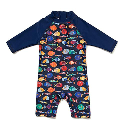 upandfast Infant Swimsuit Baby Boy Swimwear Baby Girl Sunsuits Toddler One Piece Bathing Suit with Sun Hat