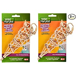 Wild Harvest Natural Millet and Treat Holder for Caged Birds (Made with Natural Materials) - Pack of 2