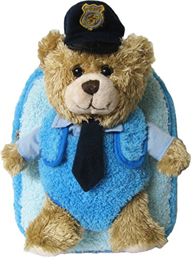 Kreative Kids Adorable Police Chief Bear Plush Backpack with Removable Stuffed Animal -
