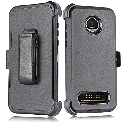 Case for Moto Z4 Play Heavy Duty Full-Body Rugged Holster Armor Case with Built-in Screen Protector, Belt-Clip, Kickstand for Motorola Z4 Play [Accessory Pack] (Black)